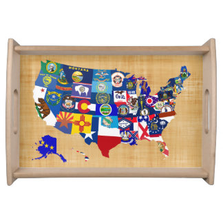 USA Map State Flags Mosaic Serving Tray