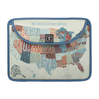 USA Map with States in Words Sleeve For MacBook Pro