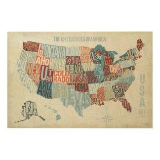 USA Map with States in Words Wood Wall Decor