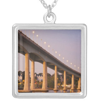 USA, Maryland, Annapolis. Severn River bidge, Silver Plated Necklace
