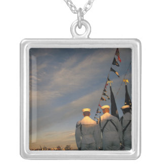 USA, Massachusettes, Boston. US Navy Color Silver Plated Necklace