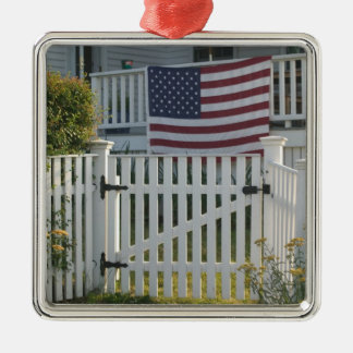 USA, Massachusettes, Gloucester: Patriotic Fence Silver-Colored Square Decoration