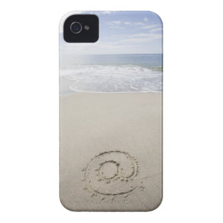 USA, Massachusetts, At sign drawn on sandy beach iPhone 4 Case-Mate Cases