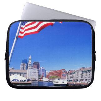 USA, Massachusetts, Boston, Boston harbour, Laptop Sleeve