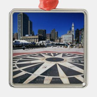 USA, Massachusetts, Boston, Boston harbour Silver-Colored Square Decoration