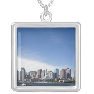USA, Massachusetts, Boston, City skyline and Silver Plated Necklace