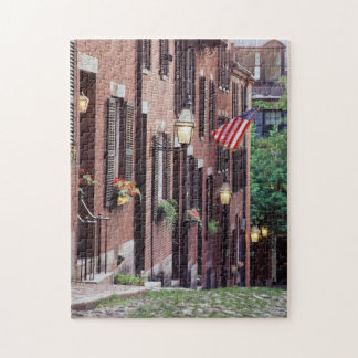 USA, Massachusetts, Boston, Houses Along Acorn Jigsaw Puzzle