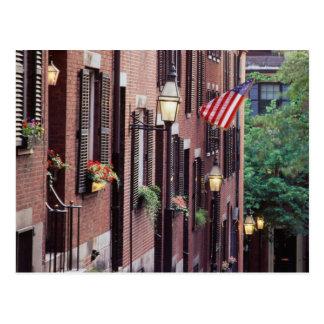 USA, Massachusetts, Boston, Houses Along Acorn Postcard