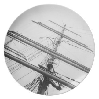 USA, Massachusetts, Boston. Masts of tall ship. Party Plate