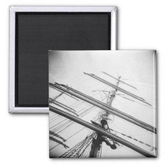 USA, Massachusetts, Boston. Masts of tall ship. Square Magnet