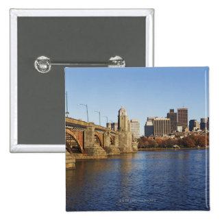 USA, Massachusetts, Boston skyline 2 15 Cm Square Badge