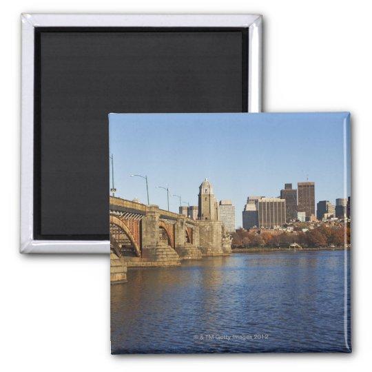 USA, Massachusetts, Boston skyline 2 Square Magnet