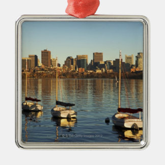 USA, Massachusetts, Boston skyline 3 Silver-Colored Square Decoration