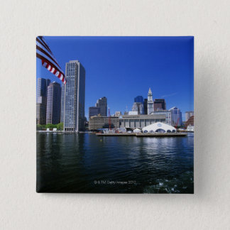 USA, Massachusetts, Boston skyline and Financial 15 Cm Square Badge