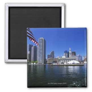 USA, Massachusetts, Boston skyline and Financial Square Magnet