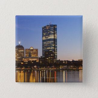 USA, Massachusetts, Boston skyline at dusk 15 Cm Square Badge