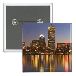 USA, Massachusetts, Boston skyline at dusk 2 15 Cm Square Badge