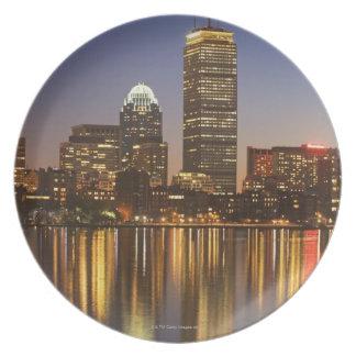 USA, Massachusetts, Boston skyline at dusk 2 Dinner Plates
