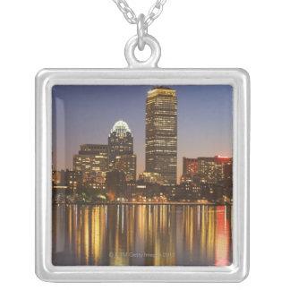 USA, Massachusetts, Boston skyline at dusk 2 Silver Plated Necklace