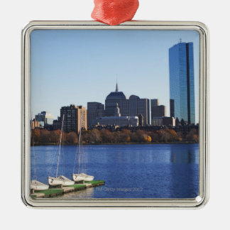 USA, Massachusetts, Boston skyline Silver-Colored Square Decoration