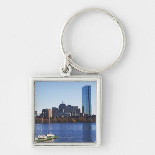 USA, Massachusetts, Boston skyline Silver-Colored Square Key Ring