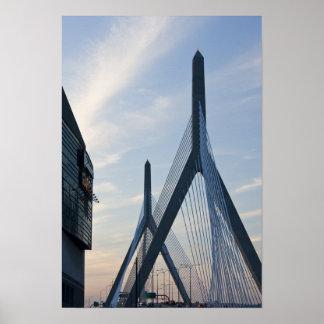 USA, Massachusetts, Boston. The Zakim Bridge. 2 Poster
