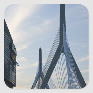USA, Massachusetts, Boston. The Zakim Bridge. 2 Square Sticker