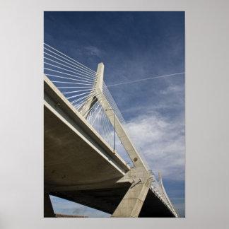USA, Massachusetts, Boston. The Zakim Bridge. Poster