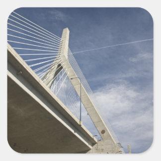 USA, Massachusetts, Boston. The Zakim Bridge. Square Sticker