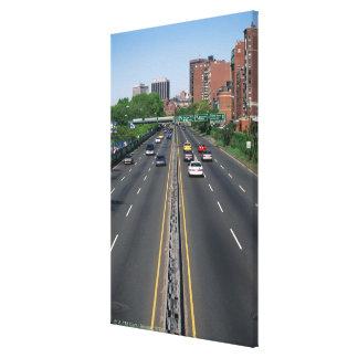 USA, Massachusetts, Boston, traffic on Storrow Canvas Print