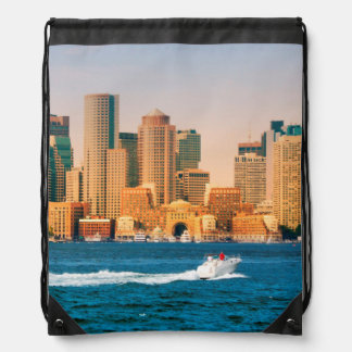 USA, Massachusetts. Boston Waterfront Panorama Drawstring Bag