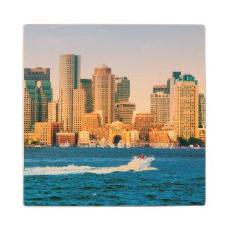 USA, Massachusetts. Boston Waterfront Panorama Maple Wood Coaster