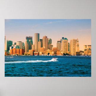 USA, Massachusetts. Boston Waterfront Panorama Poster