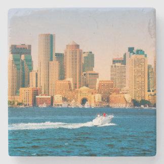 USA, Massachusetts. Boston Waterfront Panorama Stone Beverage Coaster