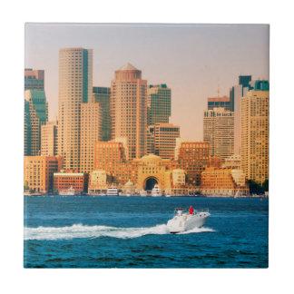 USA, Massachusetts. Boston Waterfront Panorama Tile