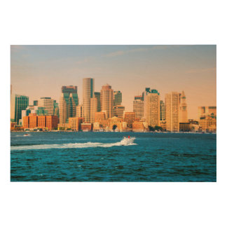 USA, Massachusetts. Boston Waterfront Panorama Wood Wall Decor