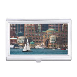 USA, Massachusetts. Boston Waterfront Skyline 2 Business Card Case