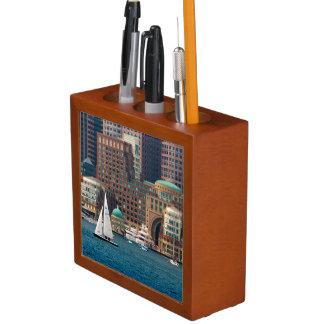 USA, Massachusetts. Boston Waterfront Skyline 2 Desk Organiser