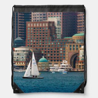USA, Massachusetts. Boston Waterfront Skyline 2 Drawstring Bag