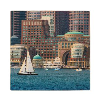 USA, Massachusetts. Boston Waterfront Skyline 2 Maple Wood Coaster