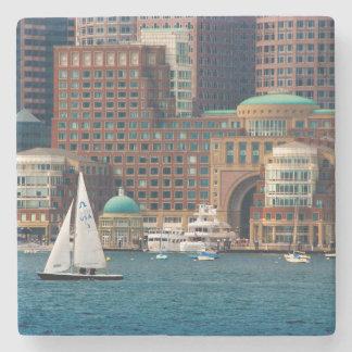 USA, Massachusetts. Boston Waterfront Skyline 2 Stone Beverage Coaster