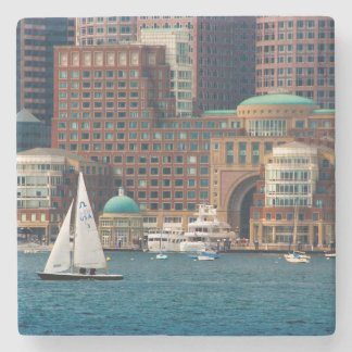 USA, Massachusetts. Boston Waterfront Skyline 2 Stone Coaster