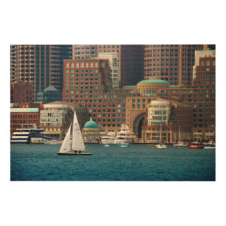 USA, Massachusetts. Boston Waterfront Skyline 2 Wood Wall Art