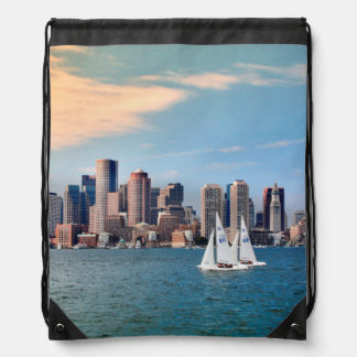 USA, Massachusetts. Boston Waterfront Skyline 3 Drawstring Bag
