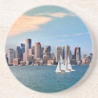 USA, Massachusetts. Boston Waterfront Skyline 3 Drink Coasters