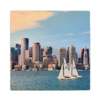 USA, Massachusetts. Boston Waterfront Skyline 3 Maple Wood Coaster