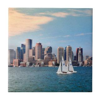 USA, Massachusetts. Boston Waterfront Skyline 3 Tile