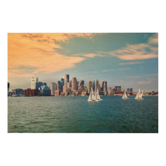 USA, Massachusetts. Boston Waterfront Skyline 3 Wood Canvases