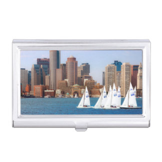 USA, Massachusetts. Boston Waterfront Skyline 4 Business Card Holder