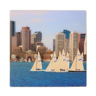 USA, Massachusetts. Boston Waterfront Skyline 4 Maple Wood Coaster